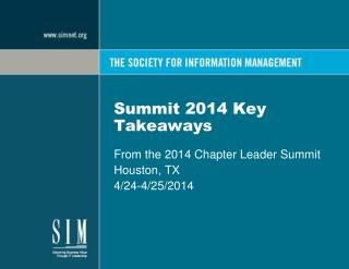 Summit 2014 Key Takeaways
