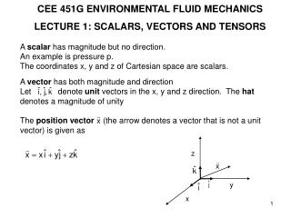 CEE 451G ENVIRONMENTAL FLUID MECHANICS