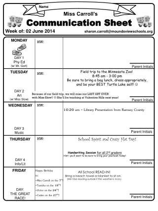 Week of: 02 June 2014