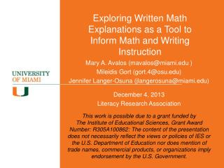 Exploring Written Math Explanations as a Tool to Inform Math and Writing Instruction