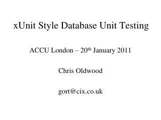 xUnit Style Database Unit Testing