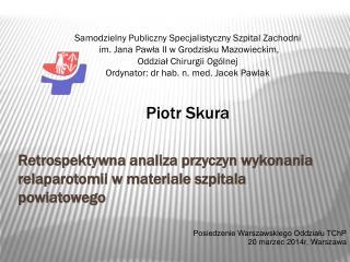 Posiedzenie Warszawskiego Oddziału TChP 20 marzec 2014r, Warszawa