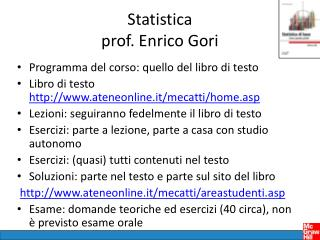 Statistica  prof. Enrico Gori