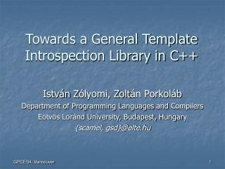 Towards a General Template Introspection Library in C++
