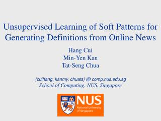Unsupervised Learning of Soft Patterns for Generating Definitions from Online News