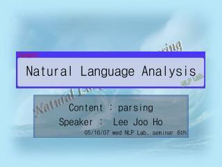 Natural Language Analysis