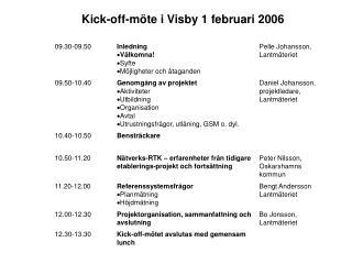 Kick-off-möte i Visby 1 februari 2006