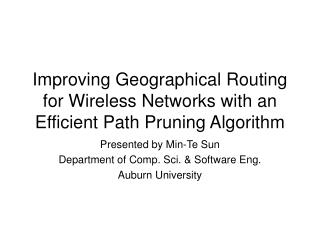 Improving Geographical Routing for Wireless Networks with an Efficient Path Pruning Algorithm
