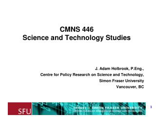 CMNS 446 Science and Technology Studies