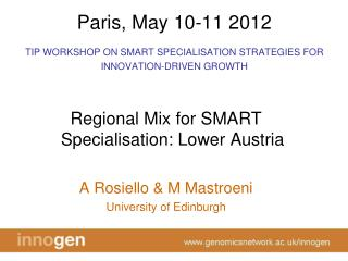 Paris, May 10-11 2012 TIP WORKSHOP ON SMART SPECIALISATION STRATEGIES FOR INNOVATION-DRIVEN GROWTH