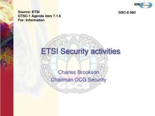 ETSI Security activities
