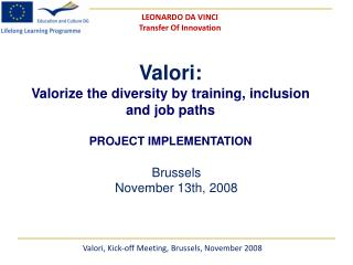 Valori: Valorize the diversity by training, inclusion and job paths PROJECT IMPLEMENTATION