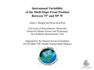 Interannual Variability of the Shelf-Slope Front Position Between 75   and 50   W