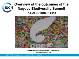 Overview of the outcomes of the Nagoya Biodiversity Summit 18-29 OCTOBER, 2010