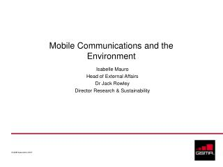 Mobile Communications and the Environment