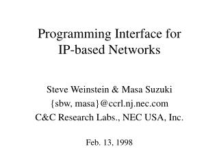 Programming Interface for IP-based Networks