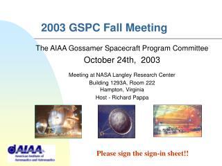 2003 GSPC Fall Meeting