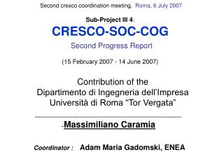 Sub-Project III 4 : CRESCO-SOC-COG Second Progress Report ( 15 February 2007 - 14 June 2007)