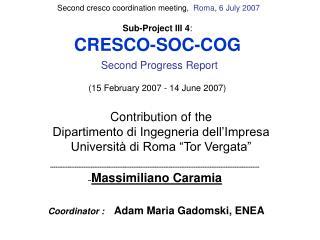 Sub-Project III 4 : CRESCO-SOC-COG Second Progress Report ( 15 February 2007 - 14 June 2007)