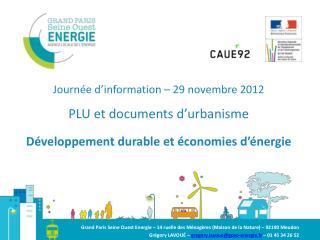 Grand Paris Seine Ouest Energie – 14 ruelle des Ménagères (Maison de la Nature) – 92190 Meudon