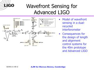 Wavefront Sensing for Advanced LIGO