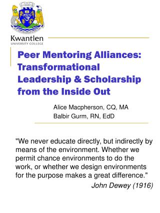 Peer Mentoring Alliances:  Transformational Leadership & Scholarship from the Inside Out