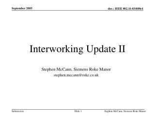 Interworking Update  II