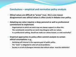 Conclusions – empirical and normative policy analysis