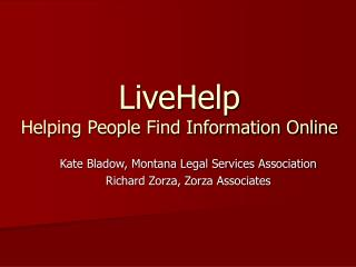 LiveHelp Helping People Find Information Online
