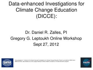 Data-enhanced Investigations for Climate Change Education (DICCE):