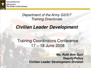 Department of the Army G3/5/7 Training Directorate Civilian Leader Development