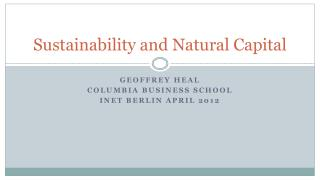 Sustainability and Natural Capital