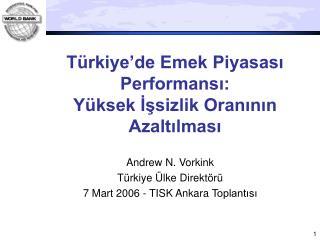 Türkiye'de Emek Piyasası Performansı: Yüksek İşsizlik Oranının Azaltılması