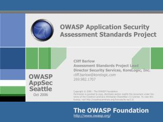 OWASP Application Security Assessment Standards Project