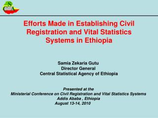 Efforts Made in Establishing Civil Registration and Vital Statistics Systems in Ethiopia