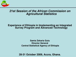 21st Session of the African Commission on Agricultural Statistics