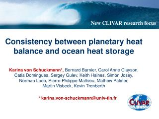 Consistency between planetary heat balance and ocean heat storage
