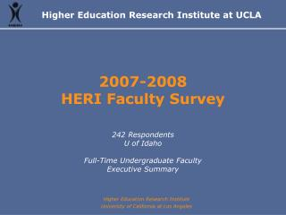 2007-2008 HERI Faculty Survey