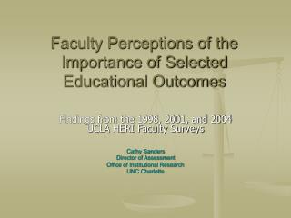 Faculty Perceptions of the Importance of Selected Educational Outcomes