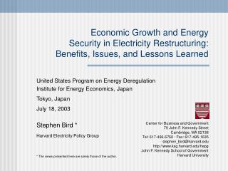 United States Program on Energy Deregulation Institute for Energy Economics, Japan Tokyo, Japan