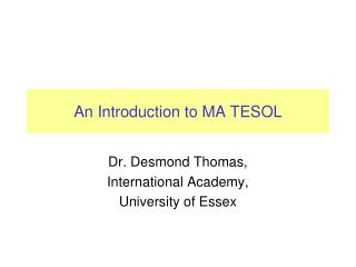 An Introduction to MA TESOL