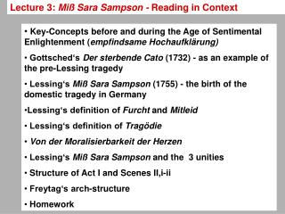 Lecture 3:  Miß Sara Sampson -  Reading in Context