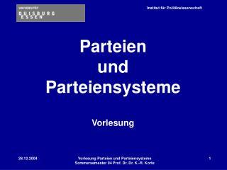 Parteien  und  Parteiensysteme  Vorlesung