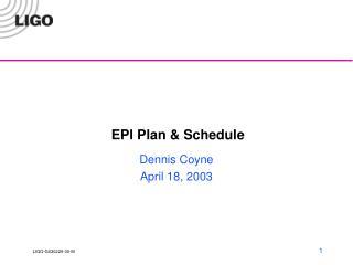 EPI Plan & Schedule