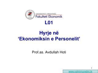 L01  Hyrje në  'Ekonomiksin e Personelit'