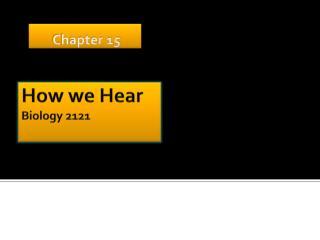How we Hear Biology 2121