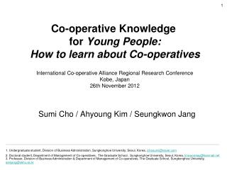 Co-operative Knowledge  for  Young People :  How to learn about Co-operatives