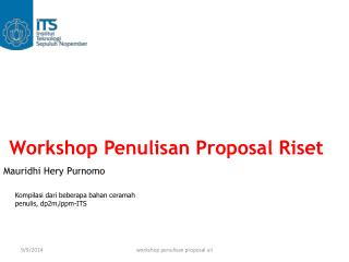 Workshop Penulisan Proposal Riset Mauridhi Hery Purnomo