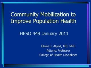 Community Mobilization to Improve Population Health