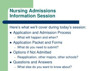 Nursing Admissions  Information Session